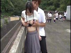 Пикап секс  японской девушки с большими сиськами